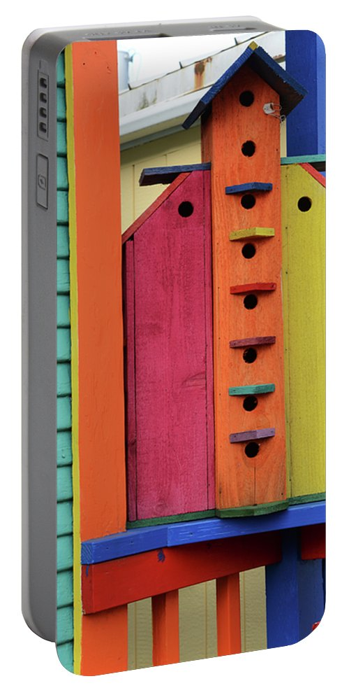 Birdhouse Portable Battery Charger featuring the photograph Birdhouses For Colorful Birds 5 by Bob Christopher