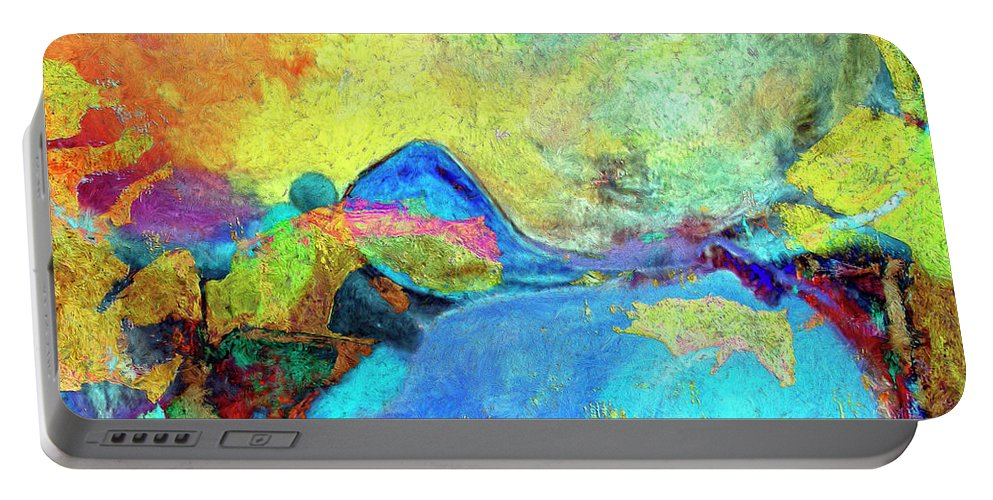 Abstract Portable Battery Charger featuring the painting Birdland by Dominic Piperata