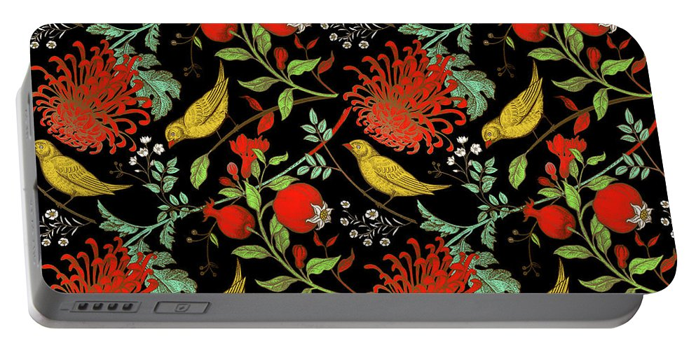 Birds Portable Battery Charger featuring the digital art Birds And Flowers by Long Shot