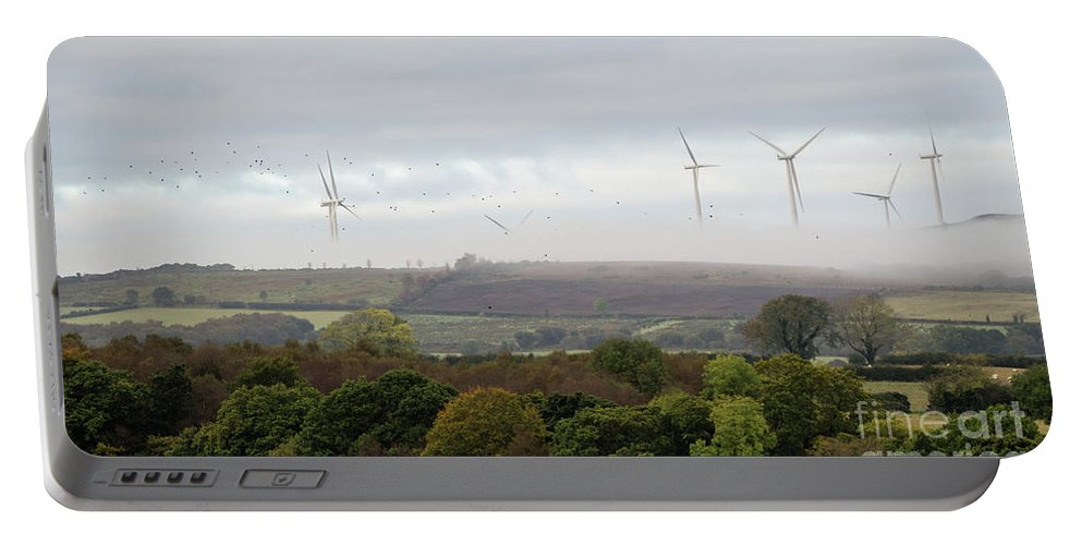 Wind Power Portable Battery Charger featuring the photograph Birds And Wind Turbines by Ciaran Craig