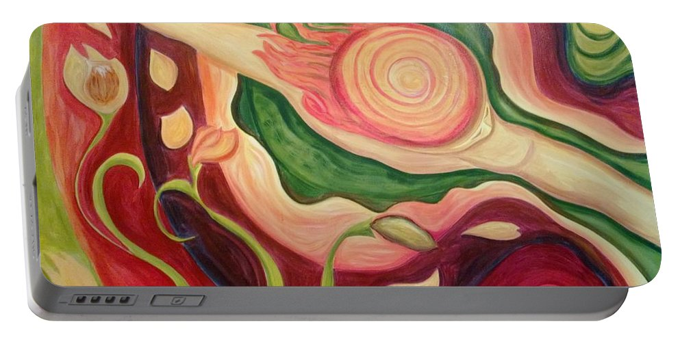 Dancer Portable Battery Charger featuring the painting Bird's Eye Dancer by Angelika Schafer
