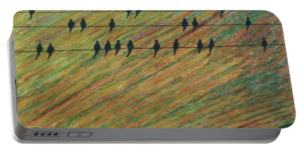 Birds Portable Battery Charger featuring the painting Bird's Eye View by John Cunnane