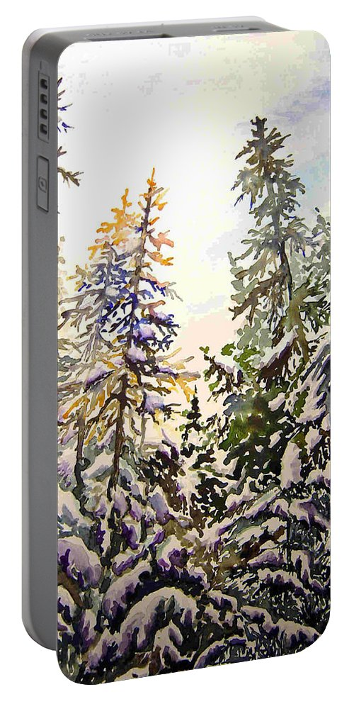 Birds Hill Provincial Park Manitoba Evergreens In Winter Portable Battery Charger featuring the painting Birds Hill Park One Late Afternoon In January by Joanne Smoley
