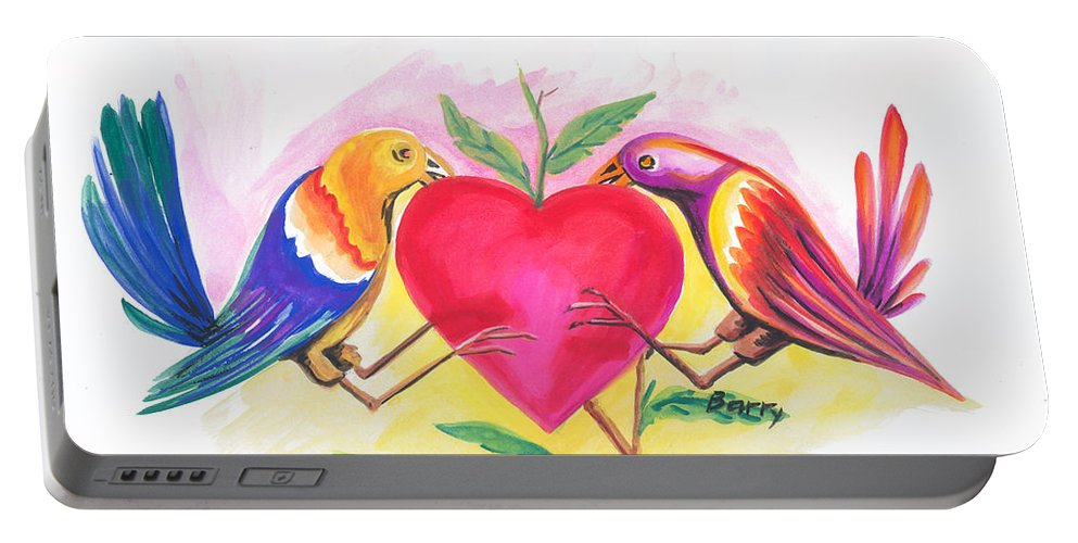 Love Portable Battery Charger featuring the painting Birds In Love 01 by Emmanuel Baliyanga