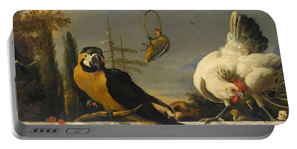 Duck Portable Battery Charger featuring the painting Birds On A Balustrade, Melchior D'hondecoeter, C. 1680 - C. 1690 by Melchior d Hondecoeter