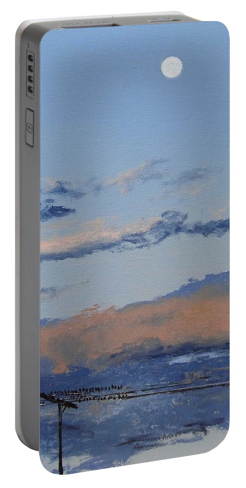 Landscape Portable Battery Charger featuring the painting Birds On A Wire by Barbara Andolsek