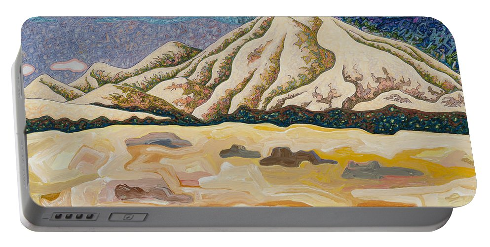 Birdseye Landscape #5 Portable Battery Charger featuring the mixed media Birdseye Landscape #5 by Dale Beckman