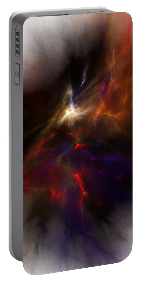 Abstract Digital Painting Portable Battery Charger featuring the digital art Birth Of A Thought by David Lane