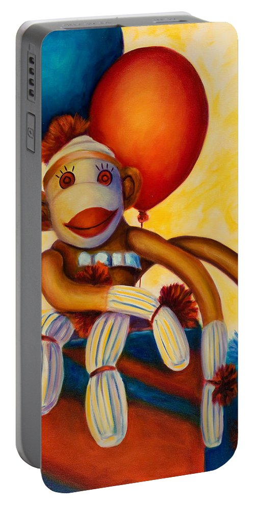 Sock Monkey Brown Portable Battery Charger featuring the painting Birthday Made Of Sockies by Shannon Grissom
