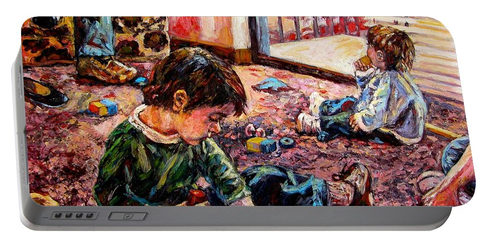 Figure Portable Battery Charger featuring the painting Birthday Party Or A Childs View by Kendall Kessler