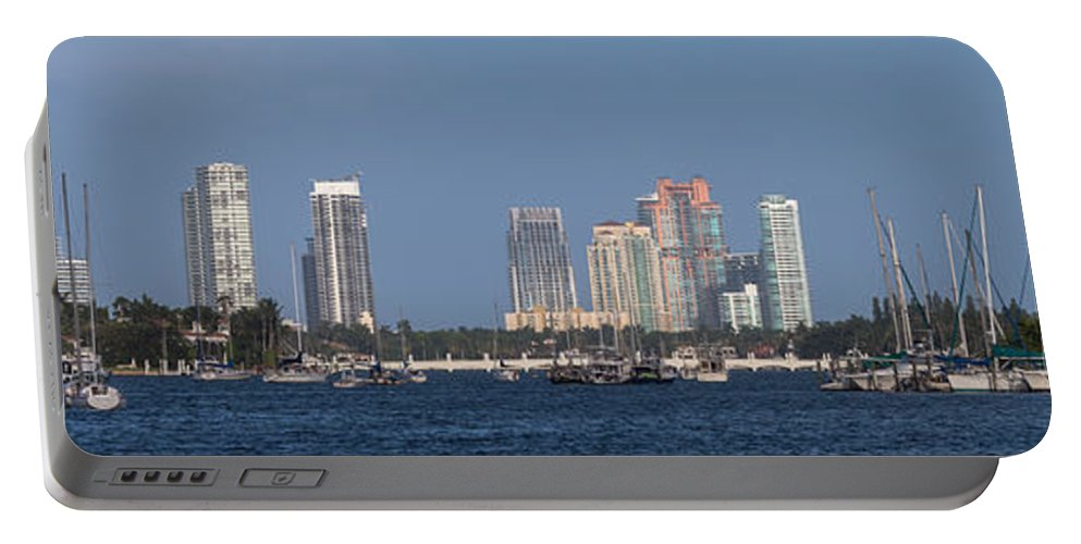 Bay Portable Battery Charger featuring the photograph Biscayne Bay At Miami Yatch Club by Ed Gleichman