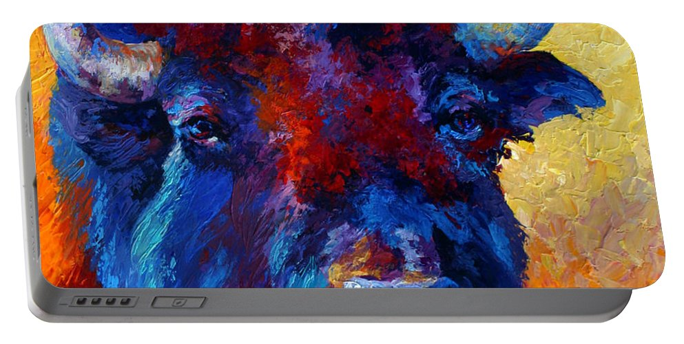Wildlife Portable Battery Charger featuring the painting Bison Boss by Marion Rose