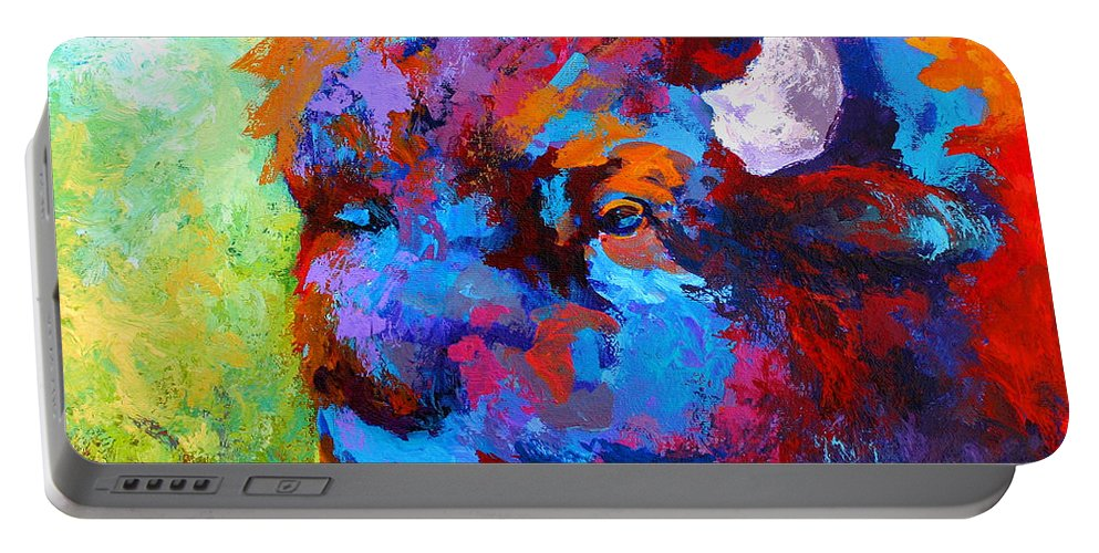 Wildlife Portable Battery Charger featuring the painting Bison Head II by Marion Rose