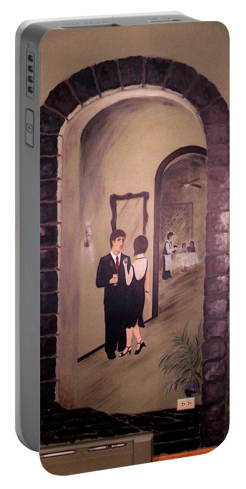 Mural Portable Battery Charger featuring the painting Bistro Mural Detail 6 by Rachel Christine Nowicki