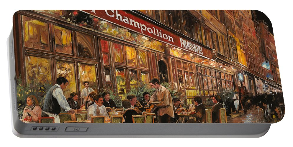 Street Scene Portable Battery Charger featuring the painting Bistrot Champollion by Guido Borelli