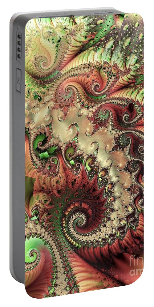 Spiral Portable Battery Charger featuring the digital art Bisymmetric Spiral Spring by Ron Bissett