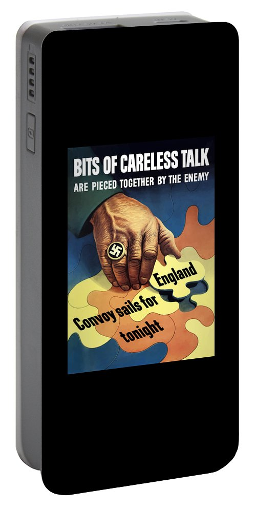 Ww2 Portable Battery Charger featuring the painting Bits Of Careless Talk by War Is Hell Store