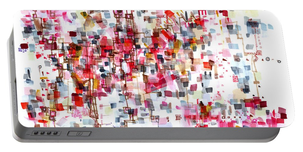 Abstract Portable Battery Charger featuring the painting Bittersweet Meanderings by Regina Valluzzi
