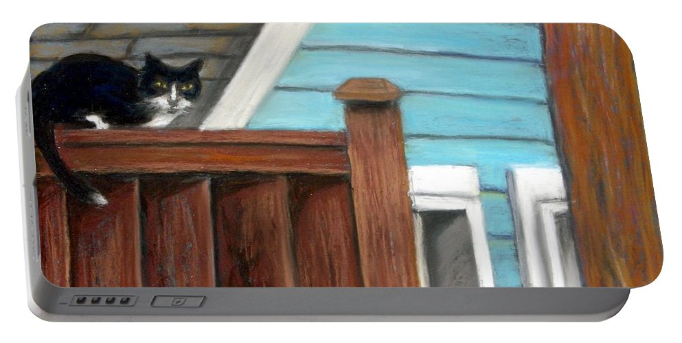Cat Portable Battery Charger featuring the painting Black Alley Cat by Minaz Jantz