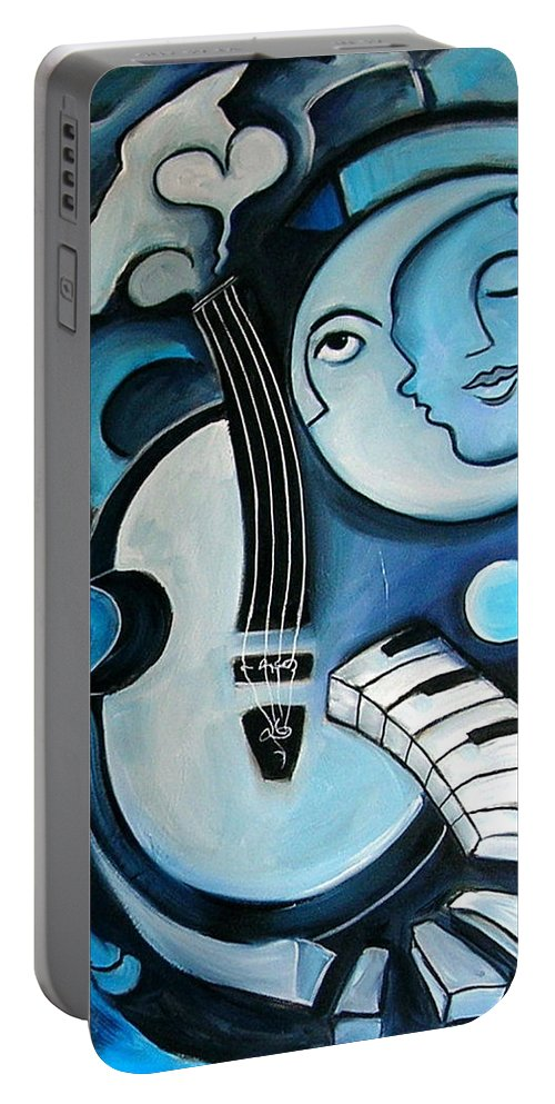 Abstract Portable Battery Charger featuring the painting Black And Bleu by Valerie Vescovi