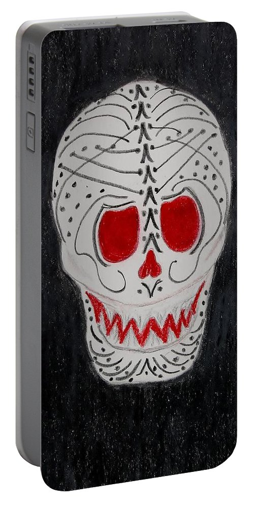 Skull Portable Battery Charger featuring the mixed media Black And Red by Charla Van Vlack