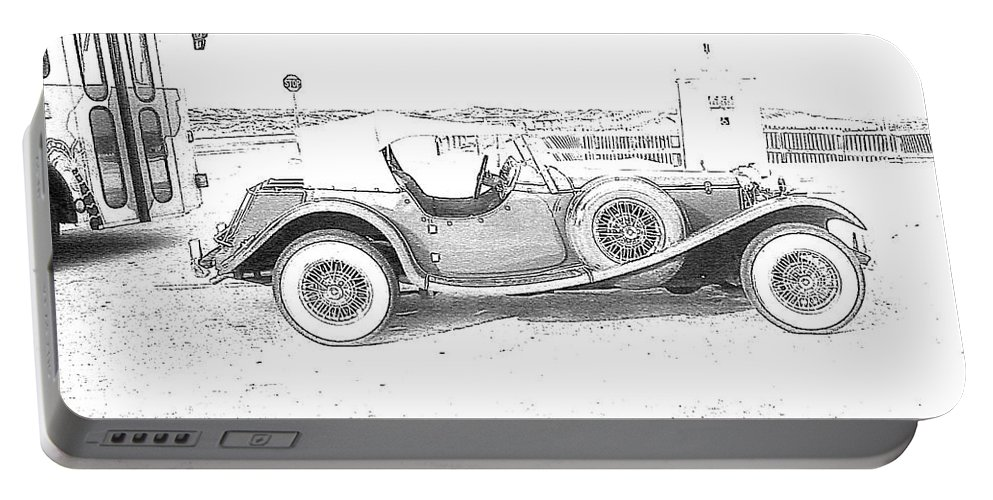 Black And White Car Portable Battery Charger featuring the photograph Black And White Car by Michelle Powell