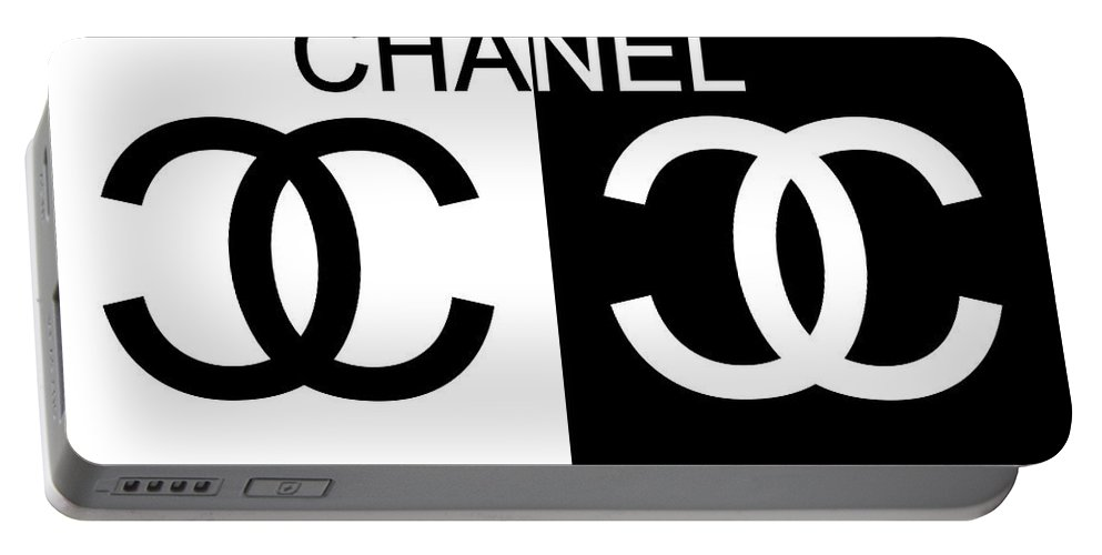 Black And White Chanel Portable Battery Charger featuring the mixed media Black And White Chanel by Dan Sproul