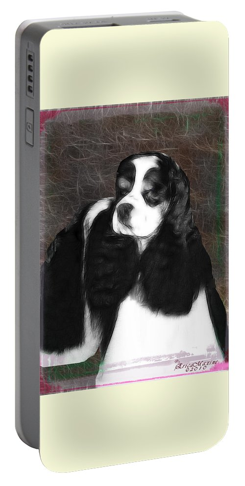 Dog Portable Battery Charger featuring the photograph Black And White Cookie by Ericamaxine Price