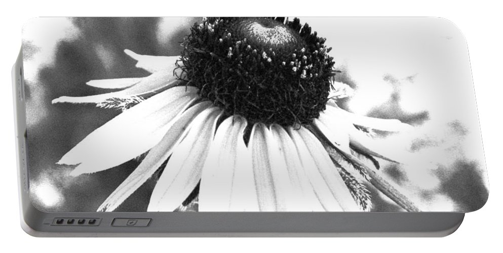 Black And White Portable Battery Charger featuring the photograph Black And White Daisy by Marna Edwards Flavell