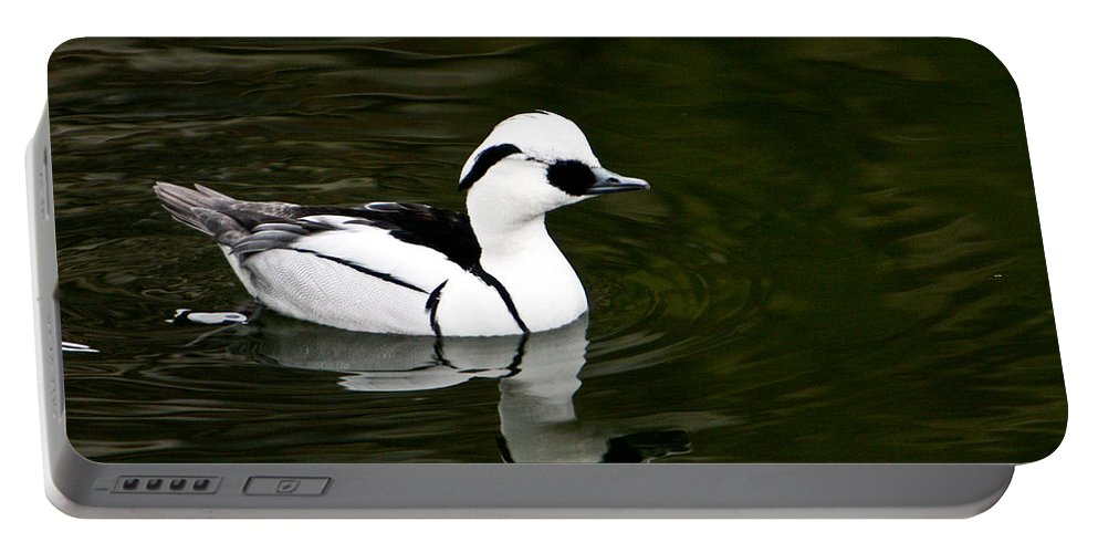 Duck Portable Battery Charger featuring the photograph Black And White Duck by Douglas Barnett