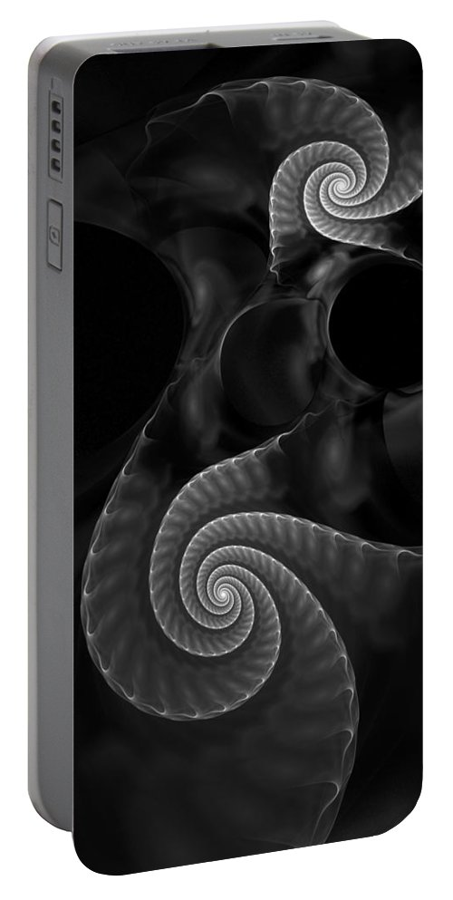 Fractal Portable Battery Charger featuring the digital art Black And White Fractal 080810 by David Lane