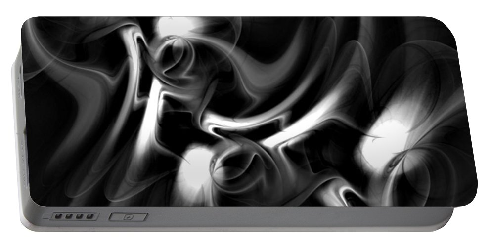Fractal Portable Battery Charger featuring the digital art Black And White Fractal 080810a by David Lane