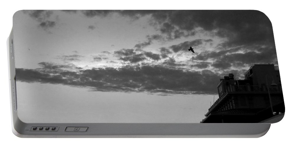 Daytona Portable Battery Charger featuring the photograph Black And White Pre-sunrise On Daytona Beach Pier 002 by Chris Mercer