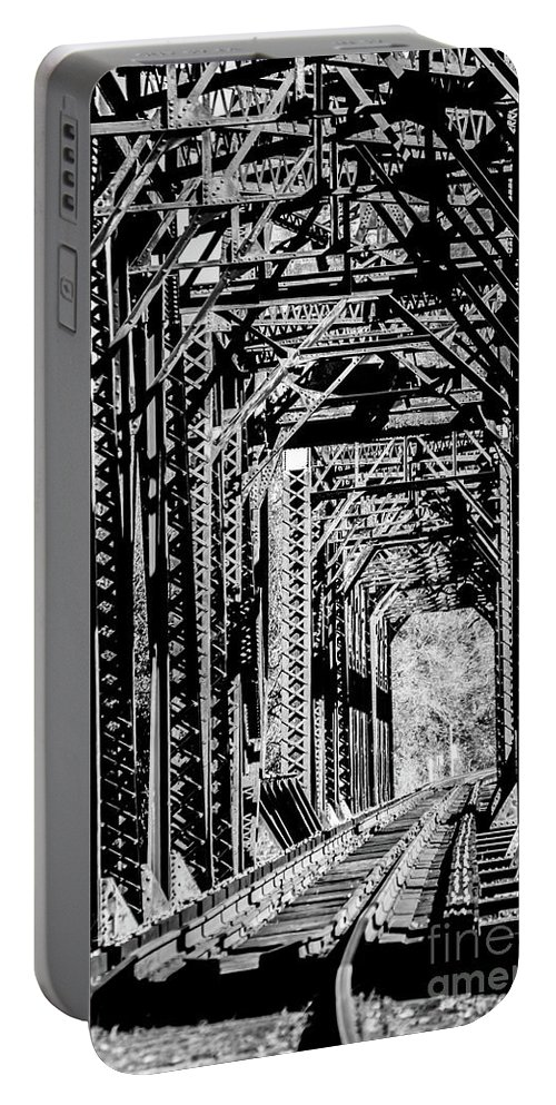 Railroad Portable Battery Charger featuring the photograph Black And White Railroad by Jordan Erhardt