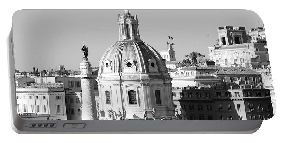 Black And White Portable Battery Charger featuring the photograph Black And White Rooftop In Rome by Stefano Senise