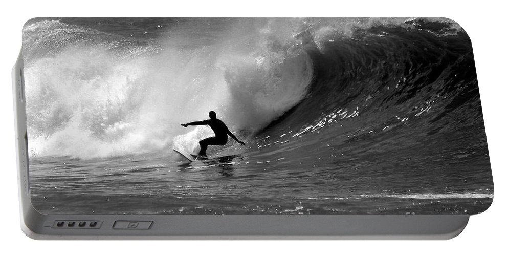 Black And White Portable Battery Charger featuring the photograph Black and White Surfer by Paul Topp