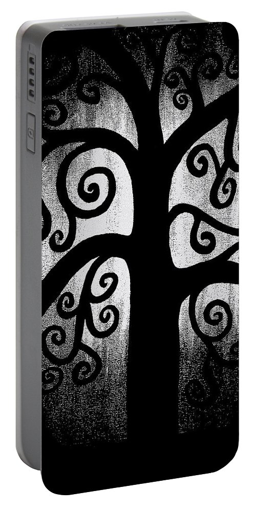 Black And White Portable Battery Charger featuring the painting Black And White Tree by Angelina Vick