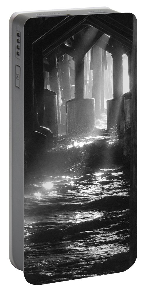 Daytona Portable Battery Charger featuring the photograph Black And White Under The Daytona Beach Pier 004 by Chris Mercer