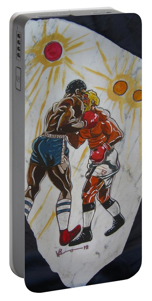 Boxing Portable Battery Charger featuring the mixed media Black And White by V Boge