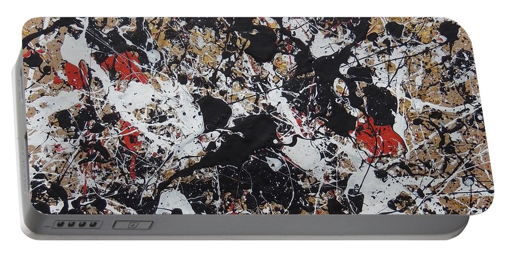 Abstract Portable Battery Charger featuring the painting Black And White With Red And Gold by Robert Chambers