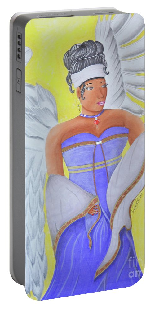 Black Women Portable Battery Charger featuring the mixed media Black Angel by Audrey Lindsey