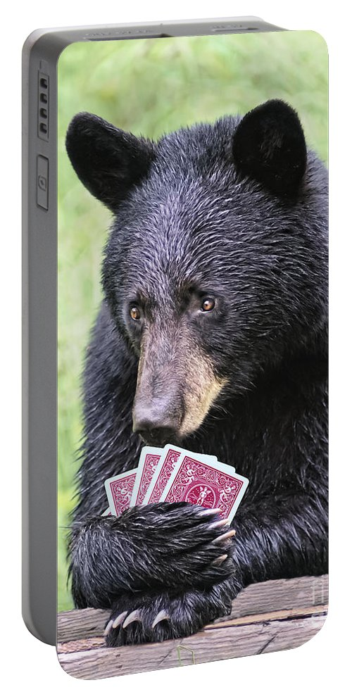 Cards Portable Battery Charger featuring the photograph Black Bear Says I Call by Timothy Flanigan