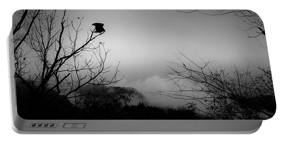 Black Portable Battery Charger featuring the photograph Black Buzzard 8 by Teresa Mucha