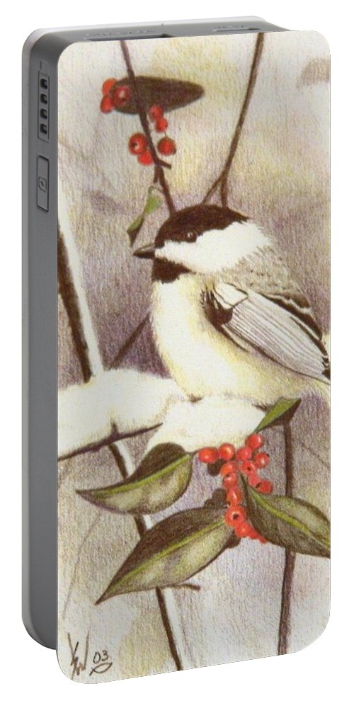 Stan White Portable Battery Charger featuring the drawing Black-capped Chickadee by Stan White