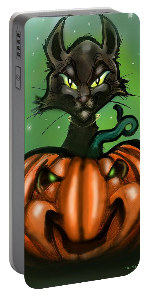 Halloween Portable Battery Charger featuring the greeting card Black Cat N Pumpkin by Kevin Middleton