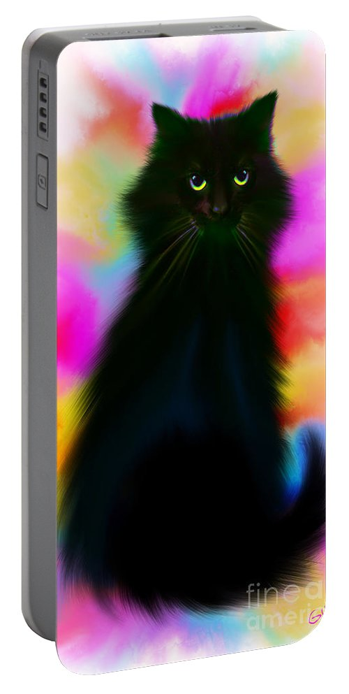Black Cat Portable Battery Charger featuring the painting Black Cat Rainbow Sky by Nick Gustafson