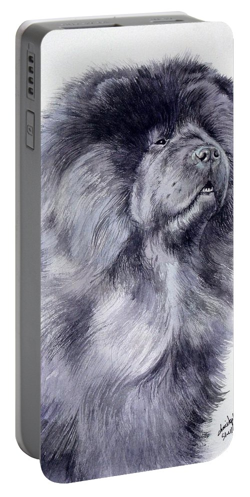 Dog Portable Battery Charger featuring the painting Black Chow Chow by Christopher Shellhammer