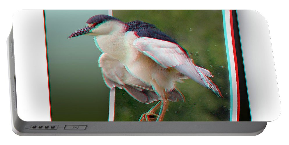 3d Portable Battery Charger featuring the photograph Black Crowned Night Heron - Use Red-cyan 3d Glasses by Brian Wallace