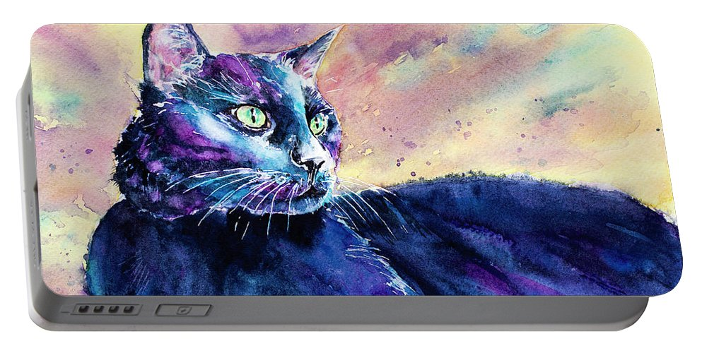 Cat Portable Battery Charger featuring the painting Black Cutie by Carrie McKenzie