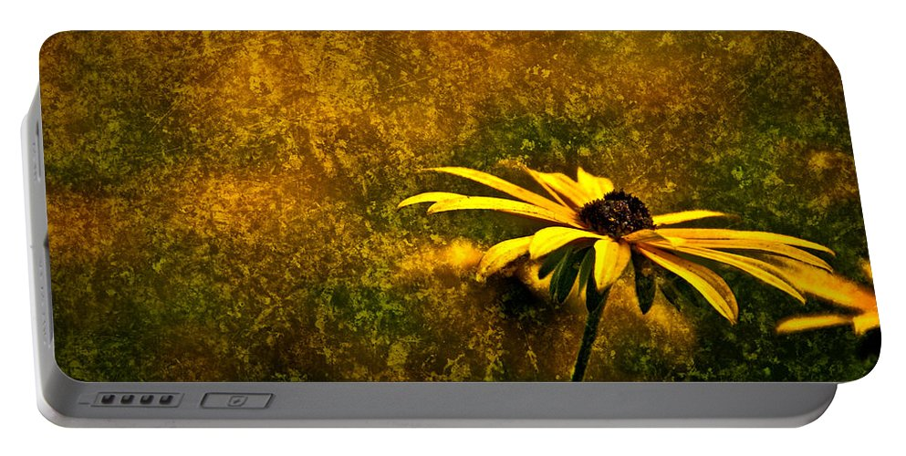 Black-eyed Susan Portable Battery Charger featuring the photograph Black-eyed Susan And Granite by Onyonet Photo Studios